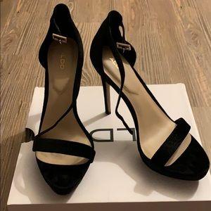 ALDO black velvet heels